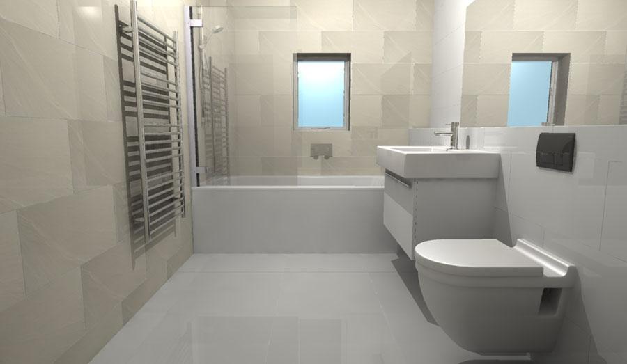 Large White Bathroom Tiles
